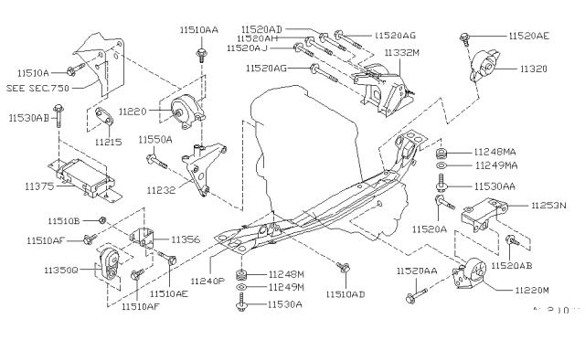 1996 Nissan Sentra Made in US Engine & Transmission MountingNissan Parts