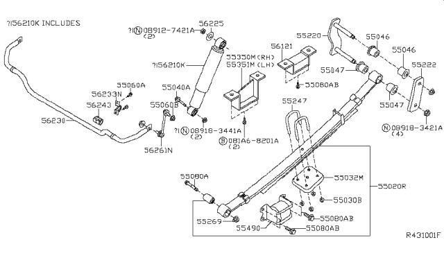 55047-Eb301 Bushing Rear Spring For Nissan 55047Eb301