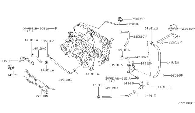 2002 Nissan Sentra Engine Control Vacuum Piping