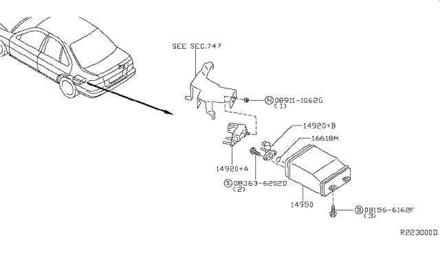 2000 Nissan Sentra Engine Control Vacuum Piping
