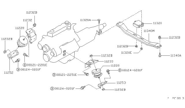 1986 Nissan Hardbody Pickup D21 Engine Transmission Mounting