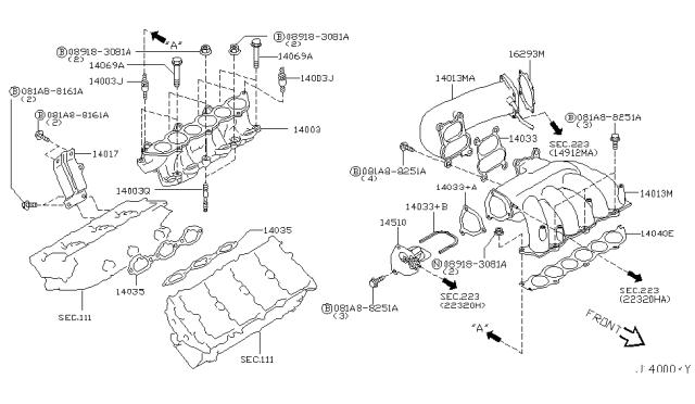Genuine Nissan Gasket-Intake Manifold 14033-8J115