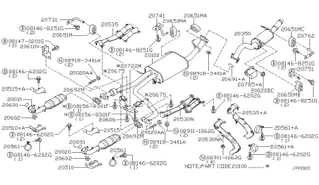 Exhaust Tube & Muffler - 2002 Nissan PathfinderNissanPartsDeal.com - Genuine Nissan Parts
