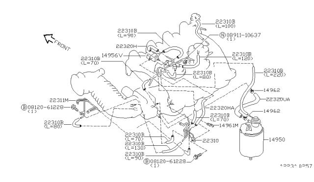 1994 Nissan Altima Engine Control Vacuum Piping