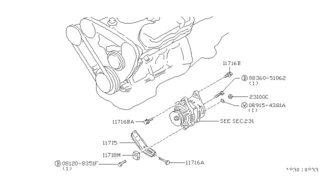 1995 Nissan Hardbody Pickup D21u Alternator Fitting