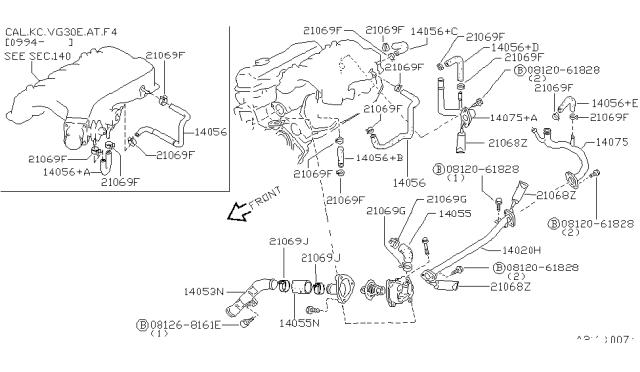 Water Hose & Piping - 1996 Nissan Hardbody Pickup (D21U) | 97 Nissan Pickup 2 4 Exhaust System Diagrahm |  | Nissan Parts