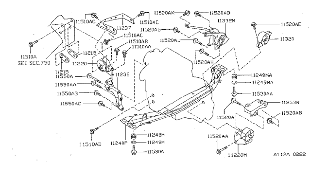 11220-0M810 | Genuine Nissan #112200M810 Mount Insulator | 1998 Nissan Sentra Engine Diagram |  | Nissan Parts