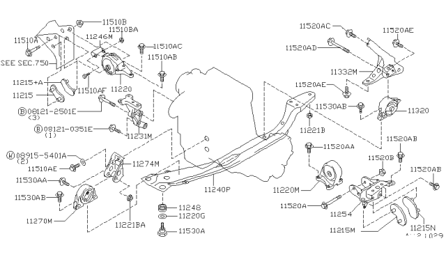 Engine & Transmission Mounting - 1998 Nissan Altima | 1998 Nissan Altima Engine Diagram |  | NissanPartsDeal.com - Genuine Nissan Parts
