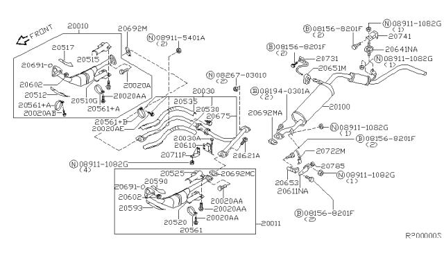 2001 Nissan Xterra Exhaust Tube Muffler Nissan Parts Deal