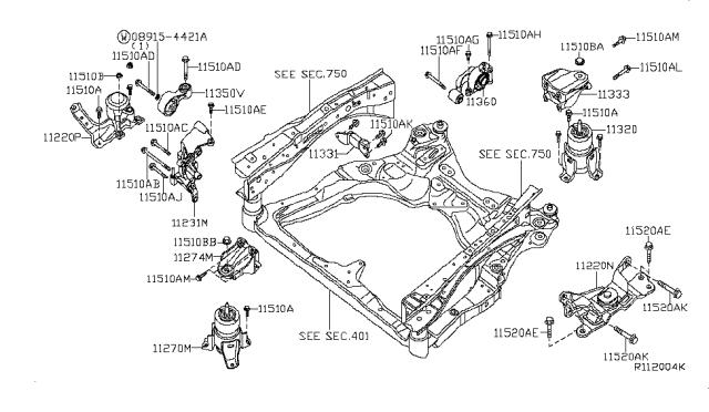 2010 Nissan Maxima Engine & Transmission MountingNissan Parts