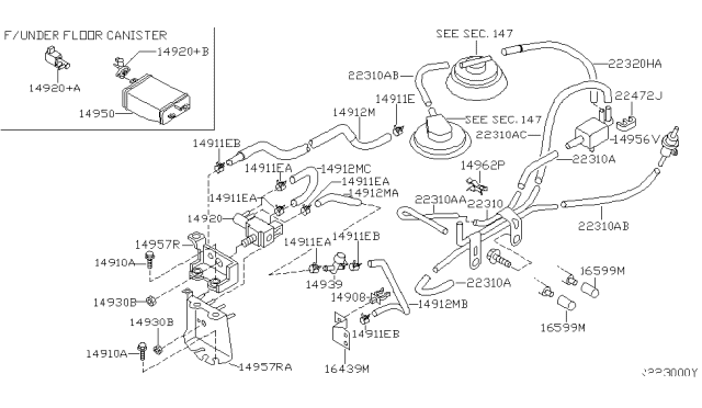 2001 Nissan Frontier Engine Control Vacuum Piping